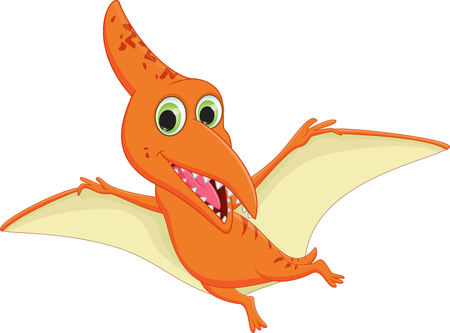 pterodactyl: cute pterodactyl cartoon flying