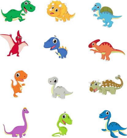 cute dinosaurs cartoon collection set