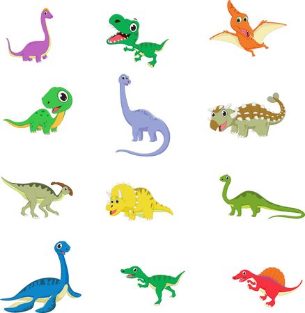 cute dinosaurs cartoon collection set