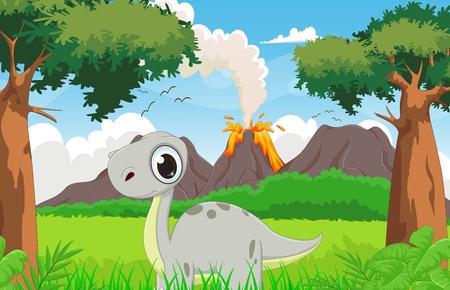 powerful volcano: cute dinosaur cartoon with the prehistoric background