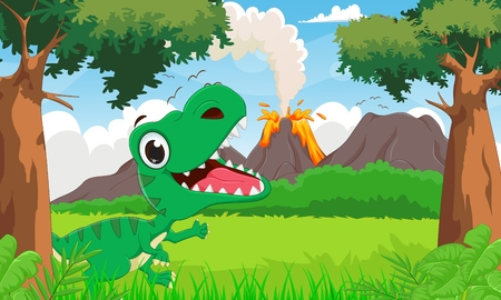 tyrannosaurus: happy tyrannosaurus cartoon with the prehistoric background