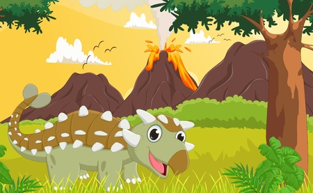 powerful volcano: cute ankylosaurus with prehistoric background
