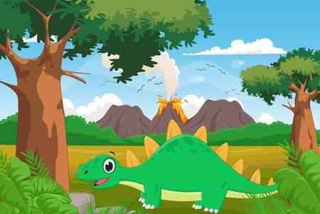 cute cartoon stegosaurus with volcano background