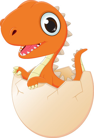 happy baby dinosaur hatching Illustration