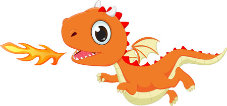 flying dragon: funny cartoon flying dragon with fire Illustration
