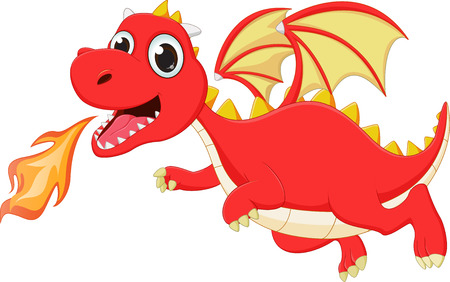 funny cartoon flying dragon with fire 向量圖像
