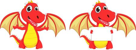 cute two cartoon red dragon posing