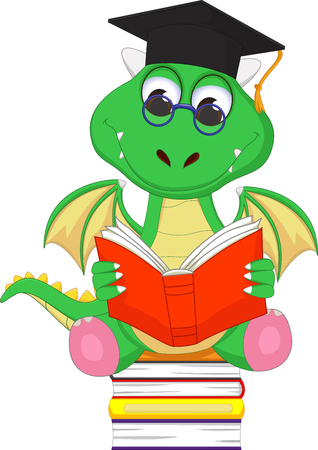 green dragon: cute green dragon reading a book while sitting on a pile of books