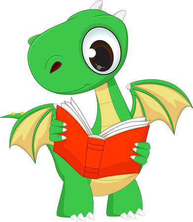 green cute: cute green dragon reading a book Illustration