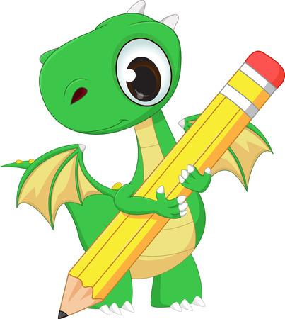 green dragon: cute green dragon with pencil