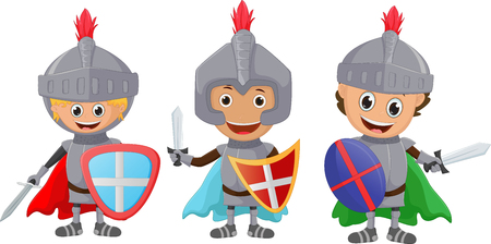 period costume: illustration of three little knight isolated on white Illustration