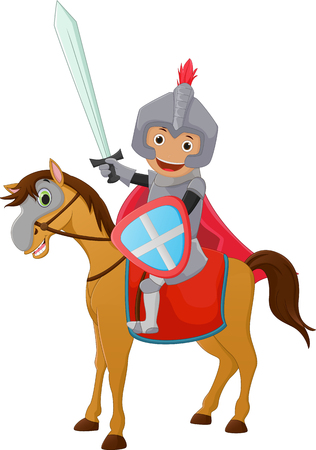 illustration of Brave Knight riding on a horse Illustration