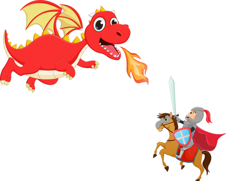 brave: illustration of brave knight fighting with a dragon