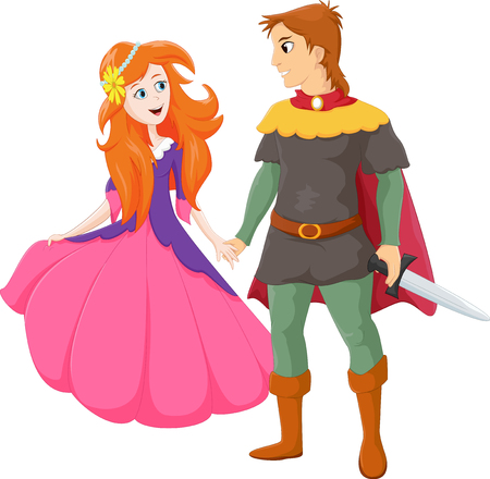 Illustration of happy charming prince and beautiful princess