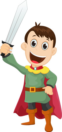cartoon Prince with a sharp sword Illustration