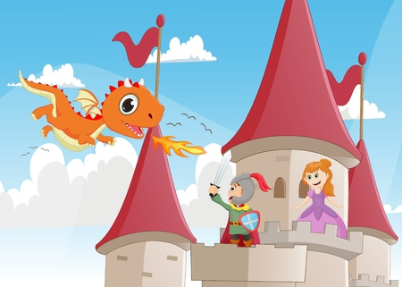 knight battling a dragon to protect the princess Ilustrace