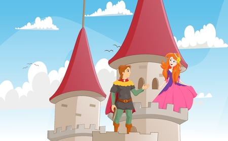 adventure story: illustration of the knight rescue the princess