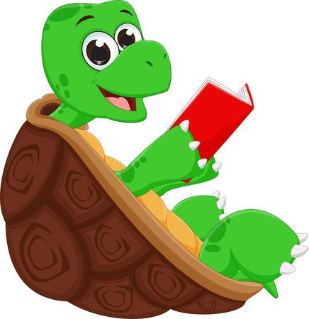 happy turtle cartoon reading book Illustration