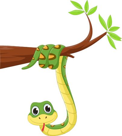 grappige slang op een boomtak Stock Illustratie