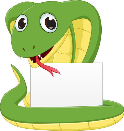 cute Cobra cartoon with blank sign Illustration