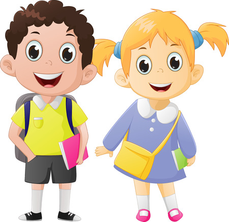 happy boy and girl ready to go back to school