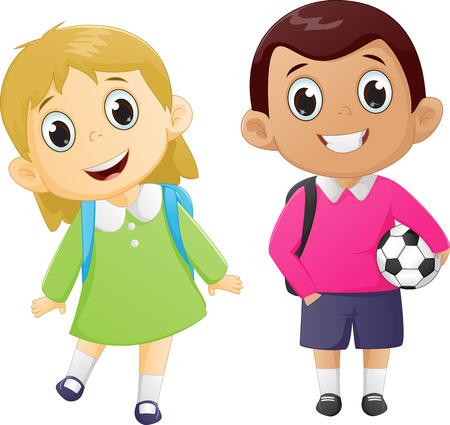 go back: happy boy and girl ready to go back to school