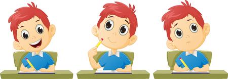 Cartoon boy studying