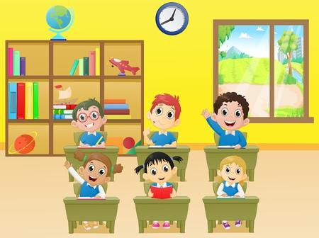 lesactiviteiten schoolkinderen in klaslokaal