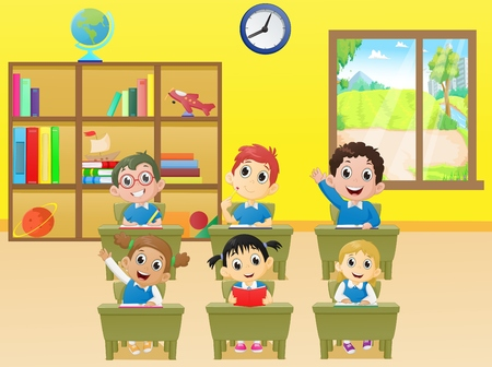 schoolmate: lesson activities school children in classroom