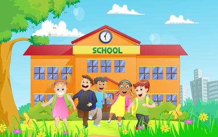 niños saliendo de la escuela: grupo de niños de escuela primaria que abandonan la escuela Vectores