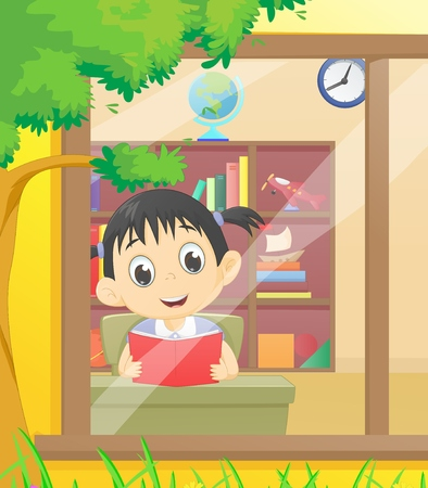 schooldays: Little girl reading a book in the library Illustration