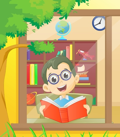 schooldays: cute boy reading a book in the library