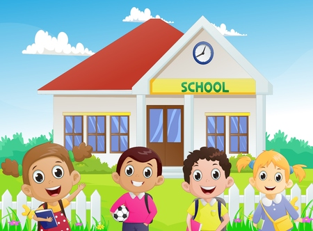 illustration of School children in front of the school building