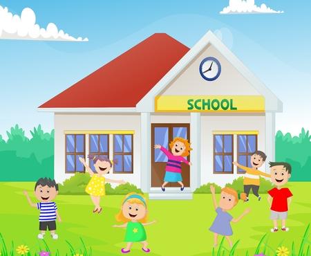 happy kids in front of the school building