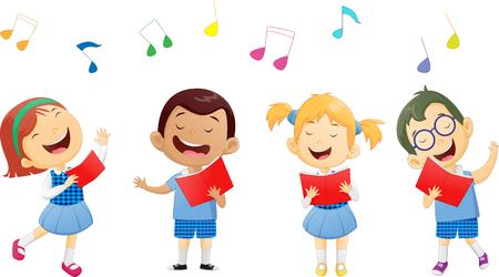 groups of school children singing in choir Stock Illustratie