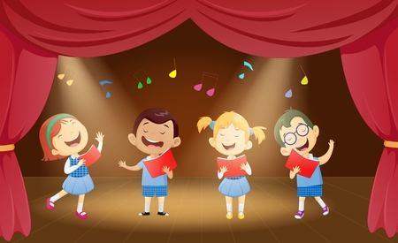 caroling: Happy cartoon boys and girls singing on the stage