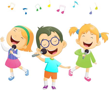 caroling: Happy cartoon boys and girls singing Illustration