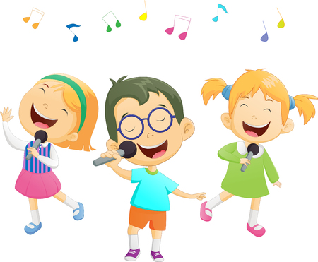 Happy cartoon boys and girls singing Illustration