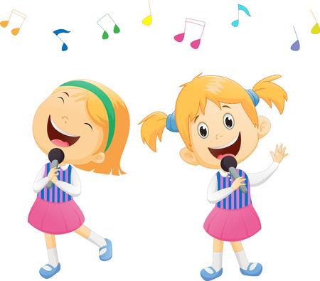 Illustration of happy singing girls Illustration