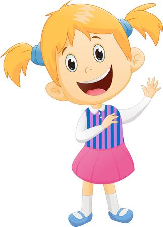 cute little girl waving hand Ilustração Vetorial