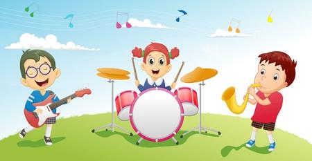 Illustration of kids playing music instrument Illustration