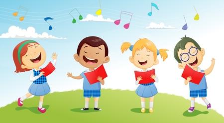 groepen schoolkinderen zingen in koor
