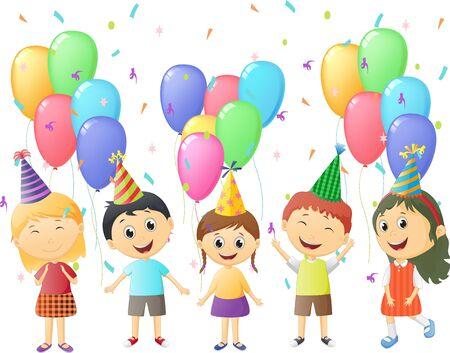 niños pequeños en la fiesta de cumpleaños