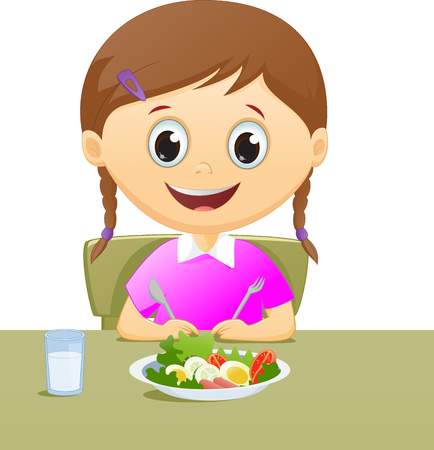 starving: illustration little girl with her breakfast along with a glass of milk Illustration