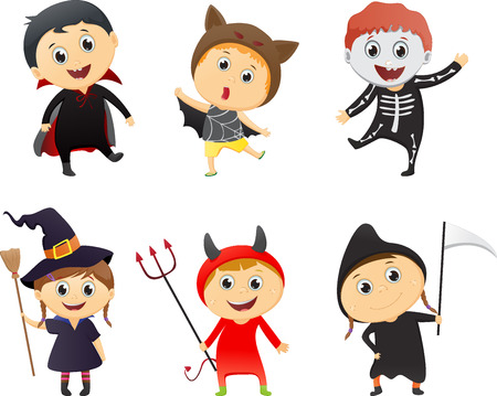 hag: Illustration of Kids Wearing Halloween Costumes