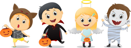 trick or treating: happy children in Halloween party trick or treating