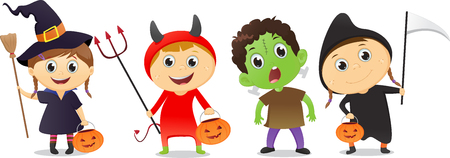 hag: happy children in Halloween party trick or treating