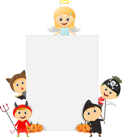 Happy Kids Wearing Halloween Costume with a blank sign