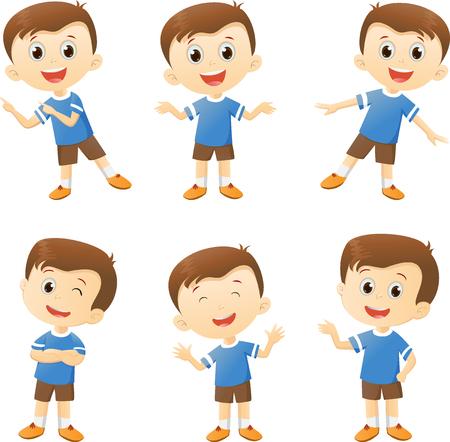 ilustración de carácter lindo del muchacho de la historieta en muchas acciones