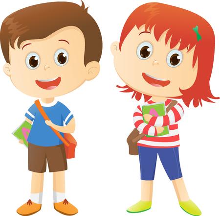 happy School kids cartoon